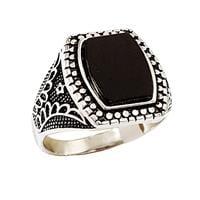 טבעת כסף לגבר משובצת אבן אוניקס שחורה ועיטורים RG9907