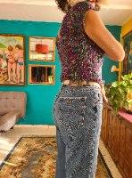 מאם ג'ינס כחול חתיכי מידה L