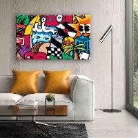 ציור פופ ארט צבעוני גדול לבית של האמן כפיר תג'ר