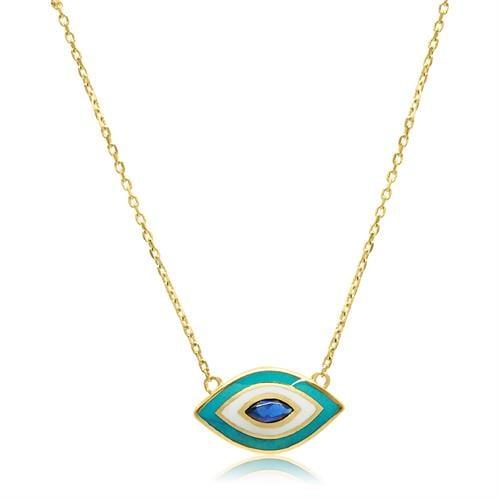 שרשרת עין זהב זרקון כחול עם אמייל לבן וטורקיז