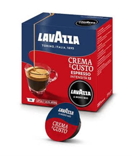 36 קפסולות קפה  LAVAZZA A MODO MIO מקורי , תערובת Crema E gusto  -אדום וכחול