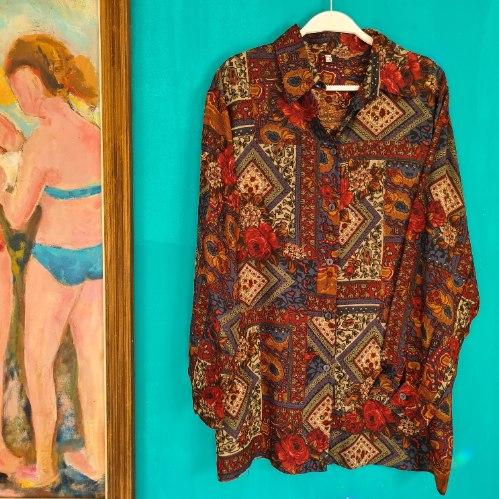 חולצת ויסקוזה פאצ'ים פרחוניים L/XL
