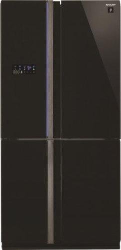 מקרר 4 דלתות מקפיא תחתון 610 ליטר Sharp SJ-FS85V - זכוכית שחורה