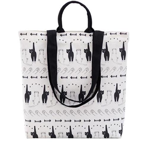 תיק בד black & white cats