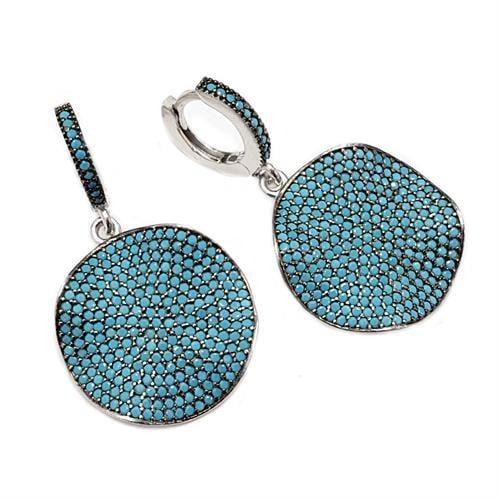 עגילי כסף תלויים משובצים אבני זרקון כחולות A8365 | תכשיטי כסף 925 | עגילי כסף