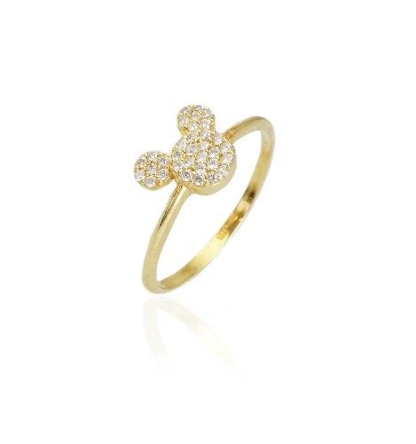 טבעת זהב עכבר מאוס וזרקונים