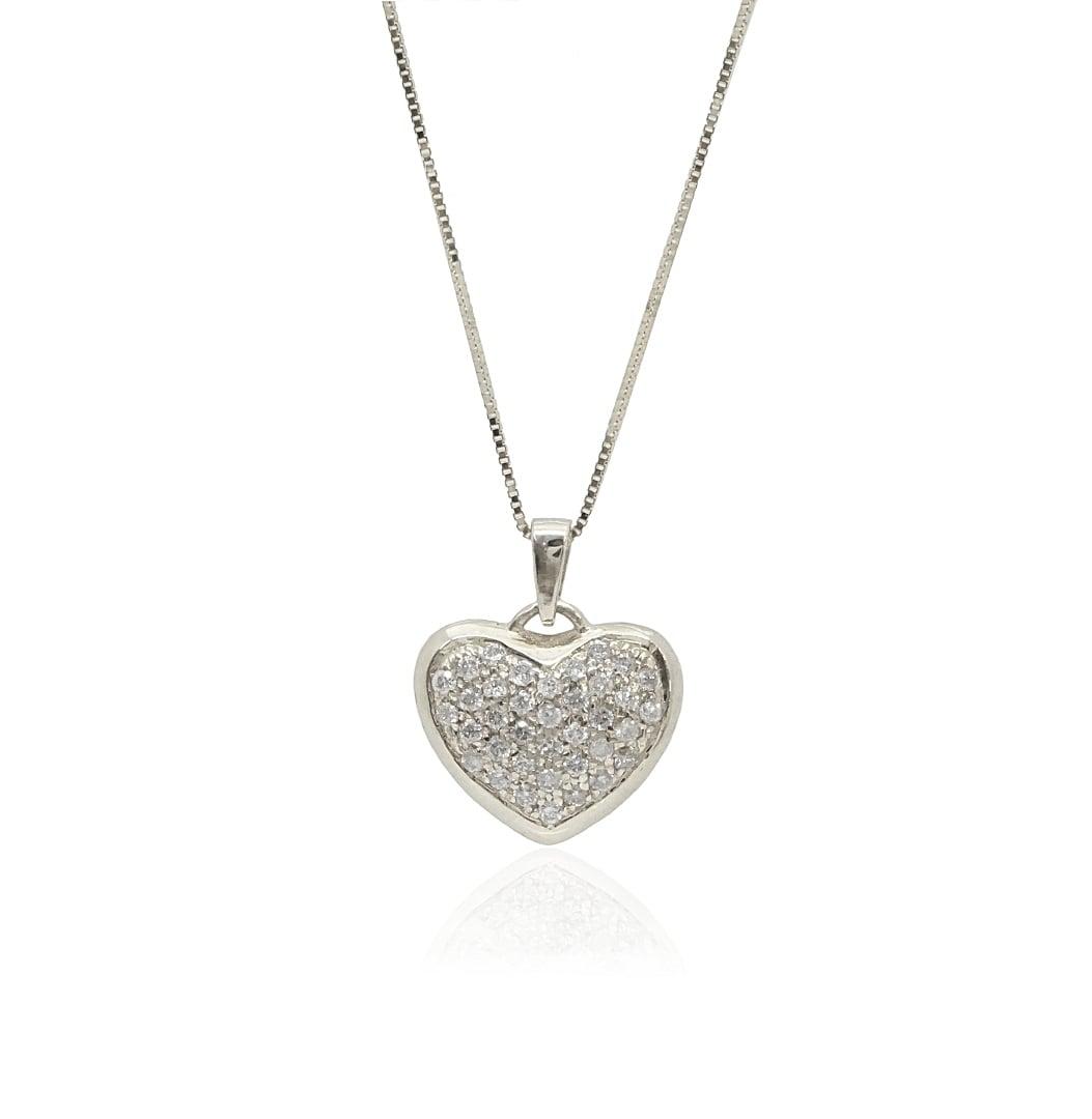 תליון לב יהלומים שרשרת לב עם יהלומים 0.35 קראט