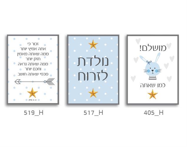 סט של 3 תמונות לחדר ילדים, תינוקות 44H