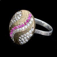 טבעת כסף סגנון ויקטוריאני משובצת רובי קוורץ RG1289