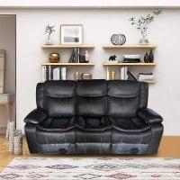 ספה 3 מושבים ג'ק מרלו (עור שחור)