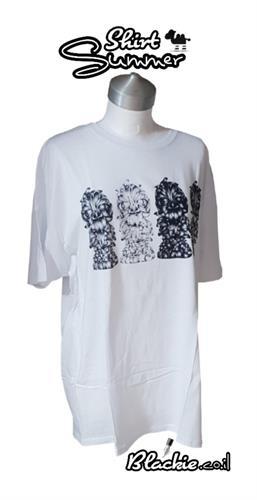 חולצה מקומית לקיץ הדפס גראפי נעול צבע לבן