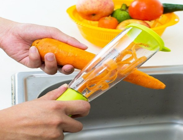 קולפן ירקות משולב מיכל אחסון לאיסוף קליפות