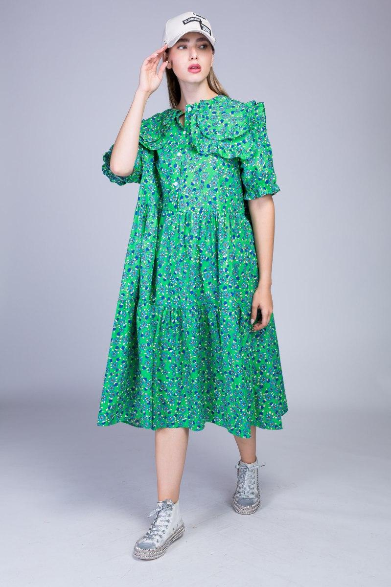 שמלת עלמה פרחונית שילוב צווארון