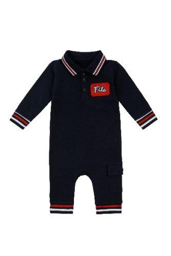 אוברול כחול עם צווארון ולוגו אדום FILA תינוקות בנים - מידות NB עד 12 חודשים