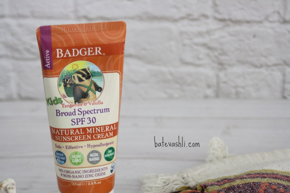 קרם הגנה badger ילדים בניחוח עדין של תפוז 30spf