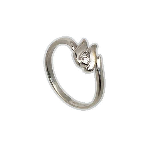 טבעת ילדות ונערות זהב לבן 14K זירקון לבן  OP0510014821