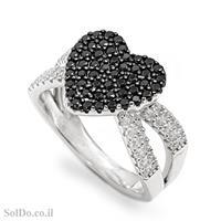 טבעת מכסף לב משובצת אבני זרקון שחורות ולבנות RG6027 | תכשיטי כסף | טבעות כסף