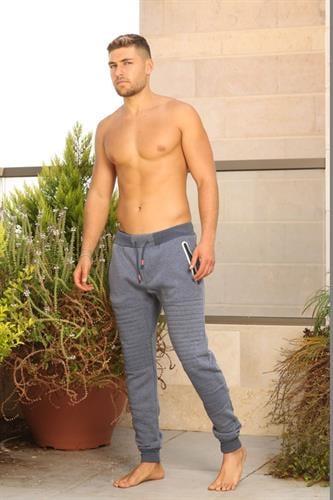 מכנס פוטר מעוצב לגבר. ירוק אפרפר / כחול אפרפר - מידות M - XXL