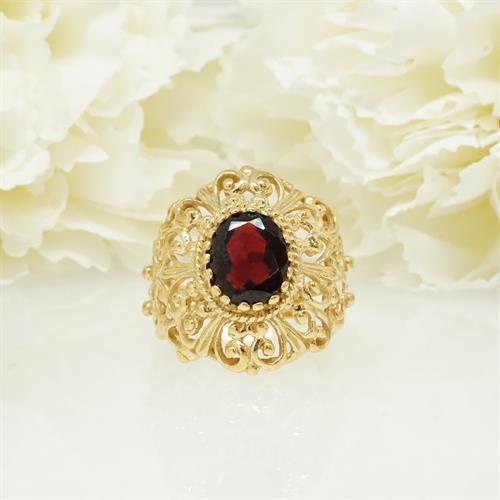 טבעת זהב מרשימה|אבן אדומה גרנט טבעית