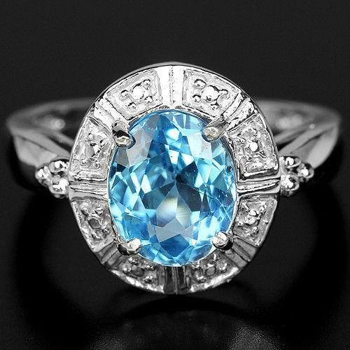 טבעת כסף משובצת טופז כחול וזרקונים RG4114 | תכשיטי כסף 925 | טבעות כסף