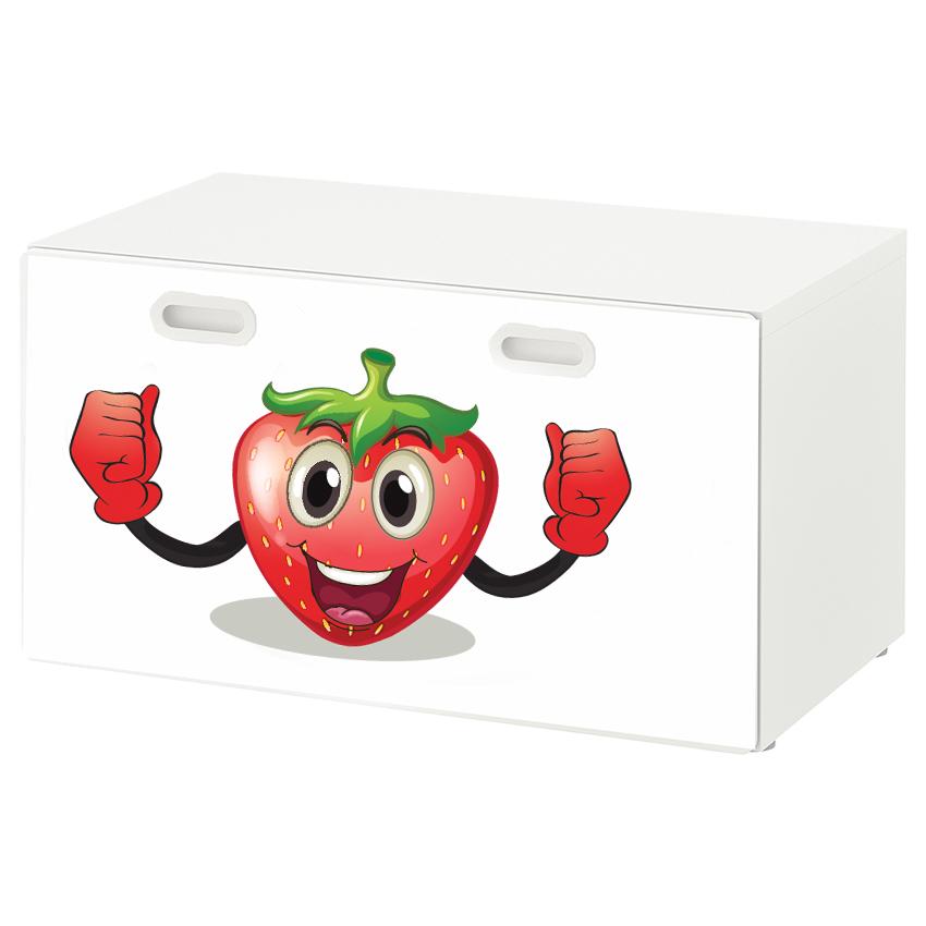 טפט דביק מותאם לספסל אחסון לצעצועים (STUVA)- תות