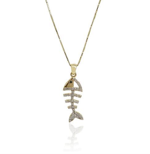 שרשרת דג זהב זרקונים