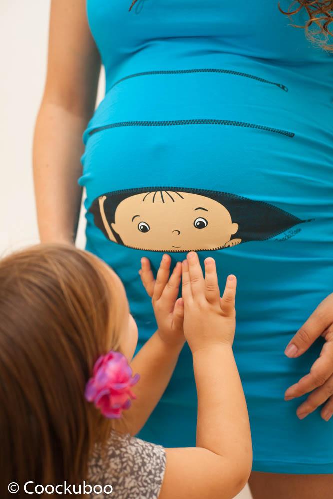 שמלת הריון שרוול גופיה תינוק מציץ בצבע תכלת בוהק