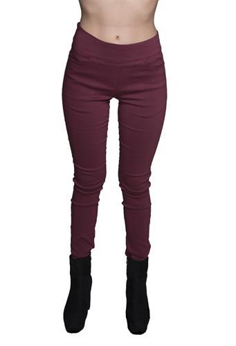 מכנס צמוד ללא רוכסן וללא כפתור בצבע בורדו