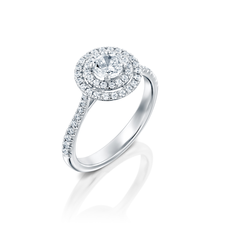 טבעת אירוסין זהב לבן 14 קראט משובצת יהלומים DOUBLE HALOW
