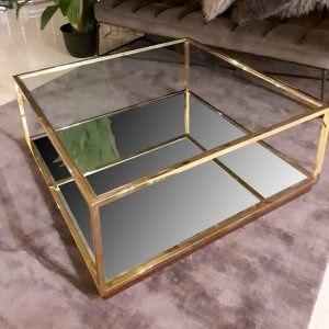 שולחן סלון נירוסטה ADAGIO GOLD מפתח הפריט: 195419 מגיע בצבע: זהב מידות: 100X100X43