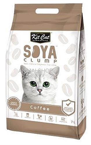 חול מתגבש לחתול על בסיס סויה בריח קפה 7 ליטר