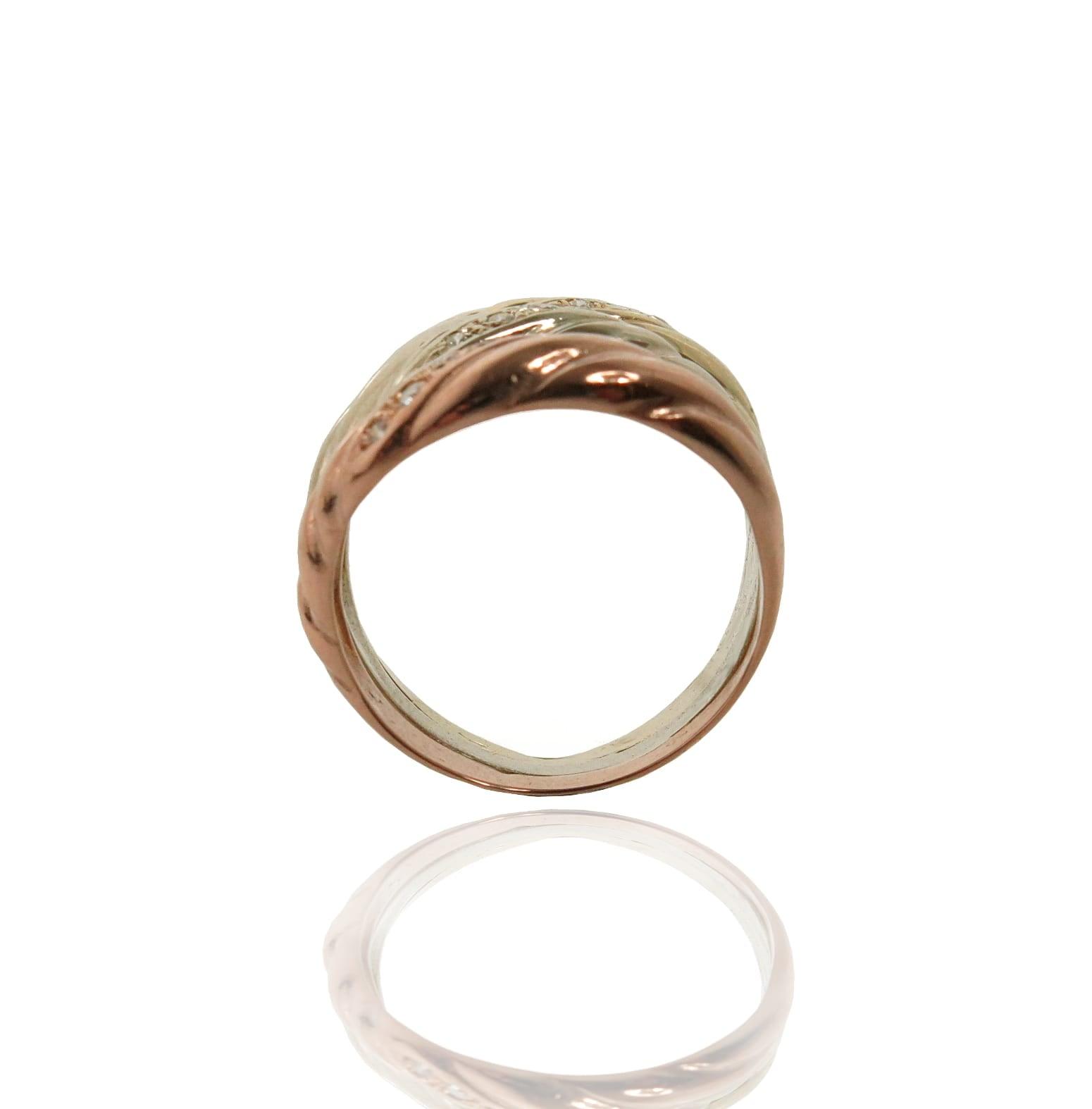 טבעת זהב שלושה צבעים I זהב 3 צבעים I טבעת טריקולור עם זרקונים