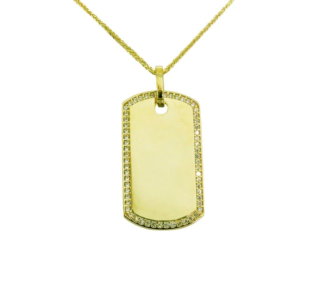 שרשרת ותליון דיסקית משובץ זרקונים בזהב צהוב 14 קרט