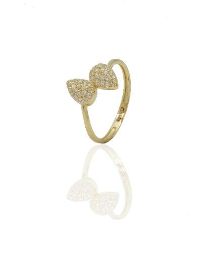 טבעת זהב │ טבעת טיפות  משובצים בזירקונים
