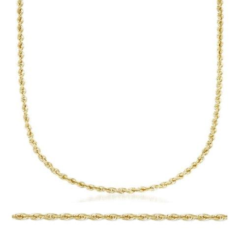 שרשרת חבל לגבר │ שרשרת זהב ארוכה │ 60 סמ אורך │ 3.3 ממ רוחב