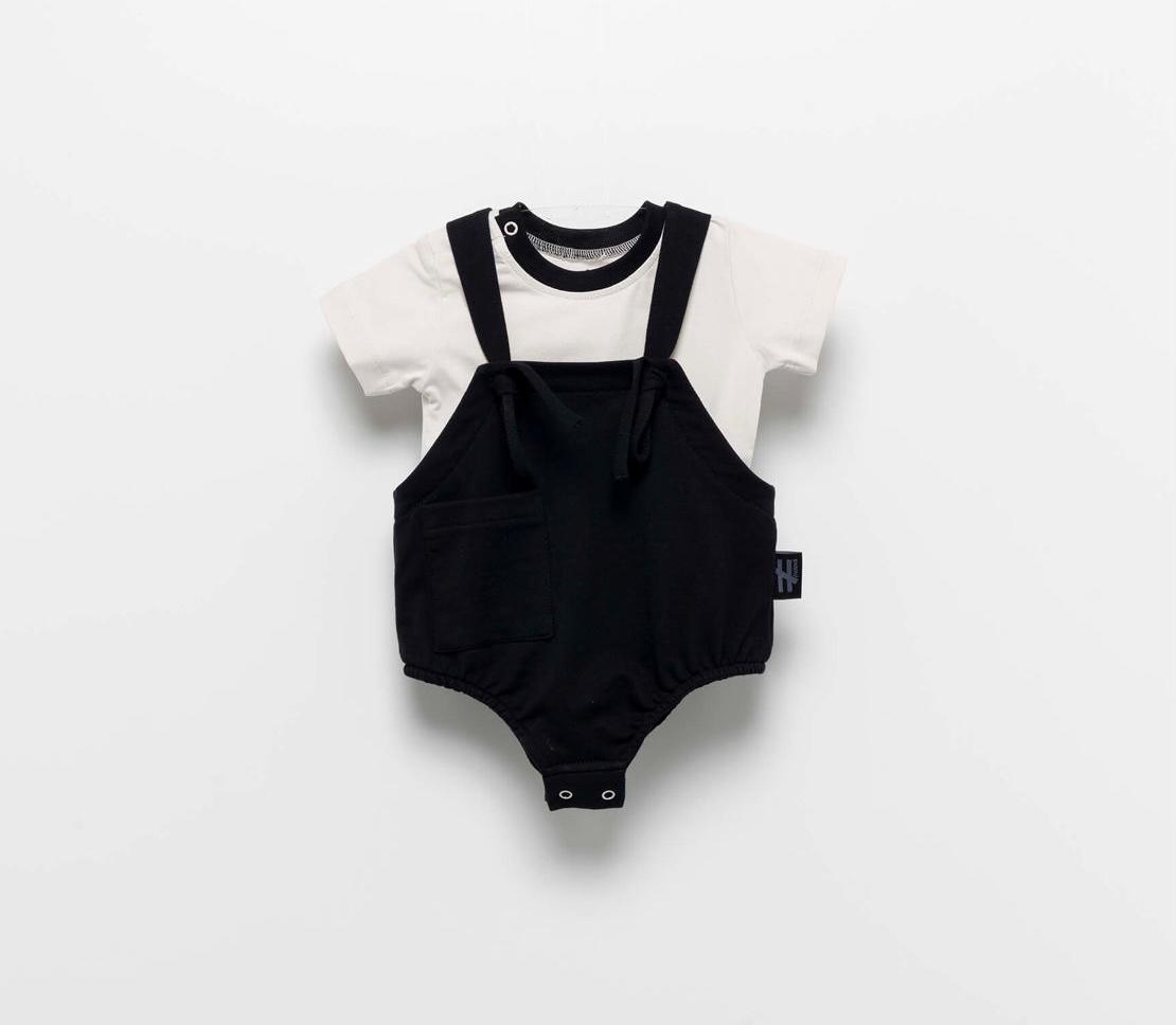 MOI NOI סט בגד גוף שרוכים שחור מידות 3-24 חודשים