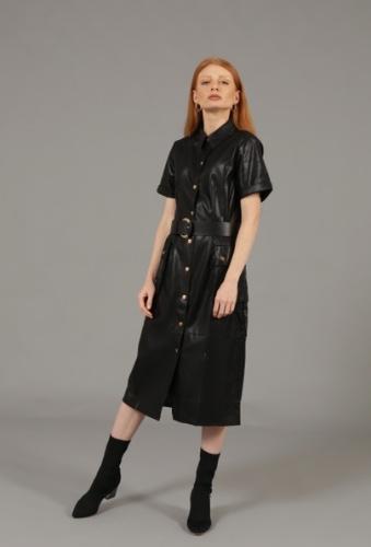 שמלת לואי שחורה דמוי עור