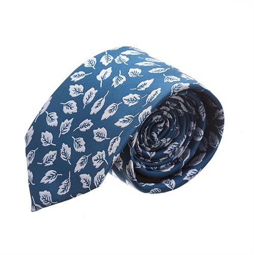 עניבה עלים על רקע כחול נייבי