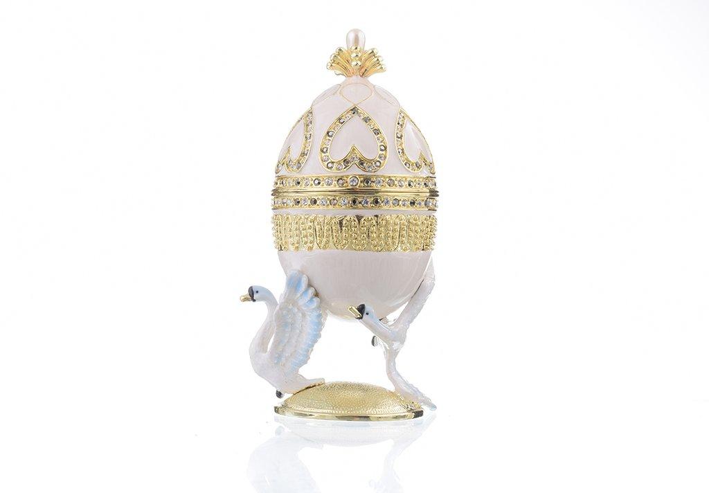 קופסת תכשיטים פברז׳ה - ברבורים לבנים
