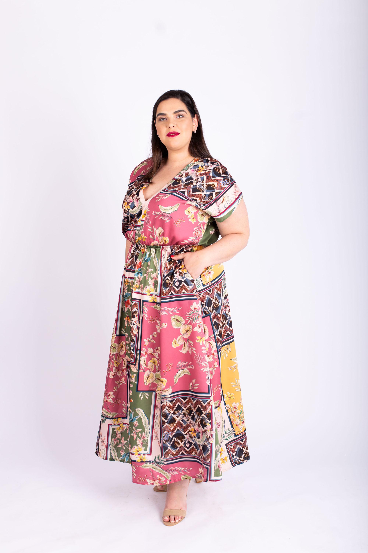 שמלת אלה מודפסת צבעונית