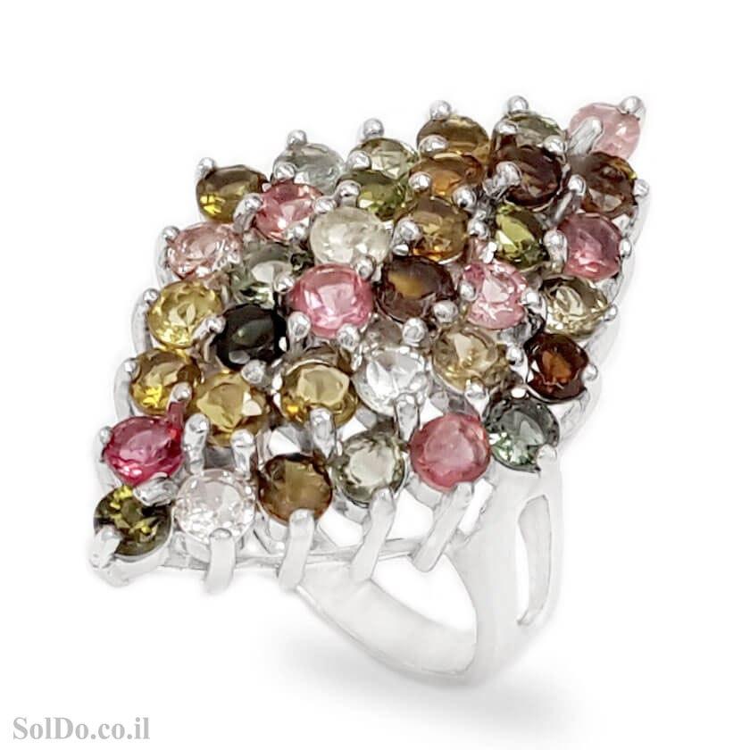 טבעת מכסף משובצת אבני טורמלין RG6325 | תכשיטי כסף 925 | טבעות כסף