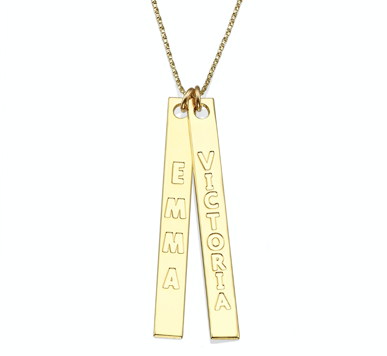 שרשרת זהב 14K עם שני מלבנים לאורך עם שני שמות