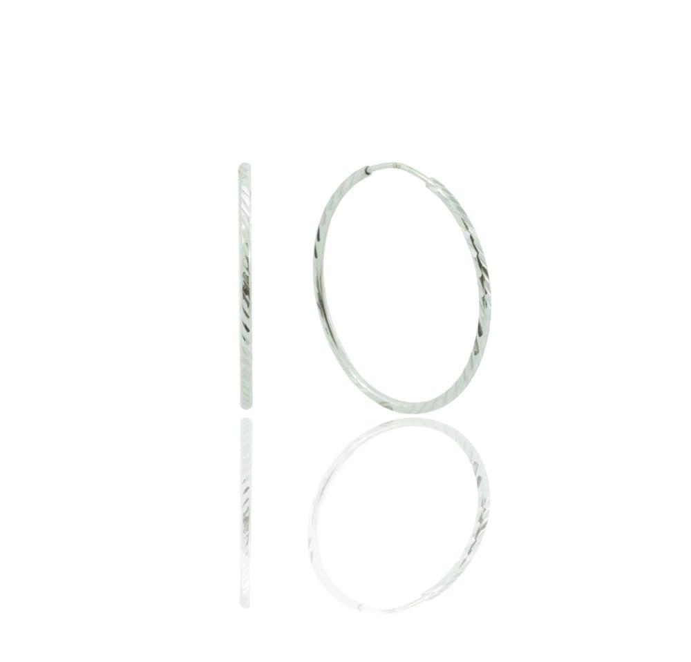 עגילי חישוק זהב לבן 14 קראט