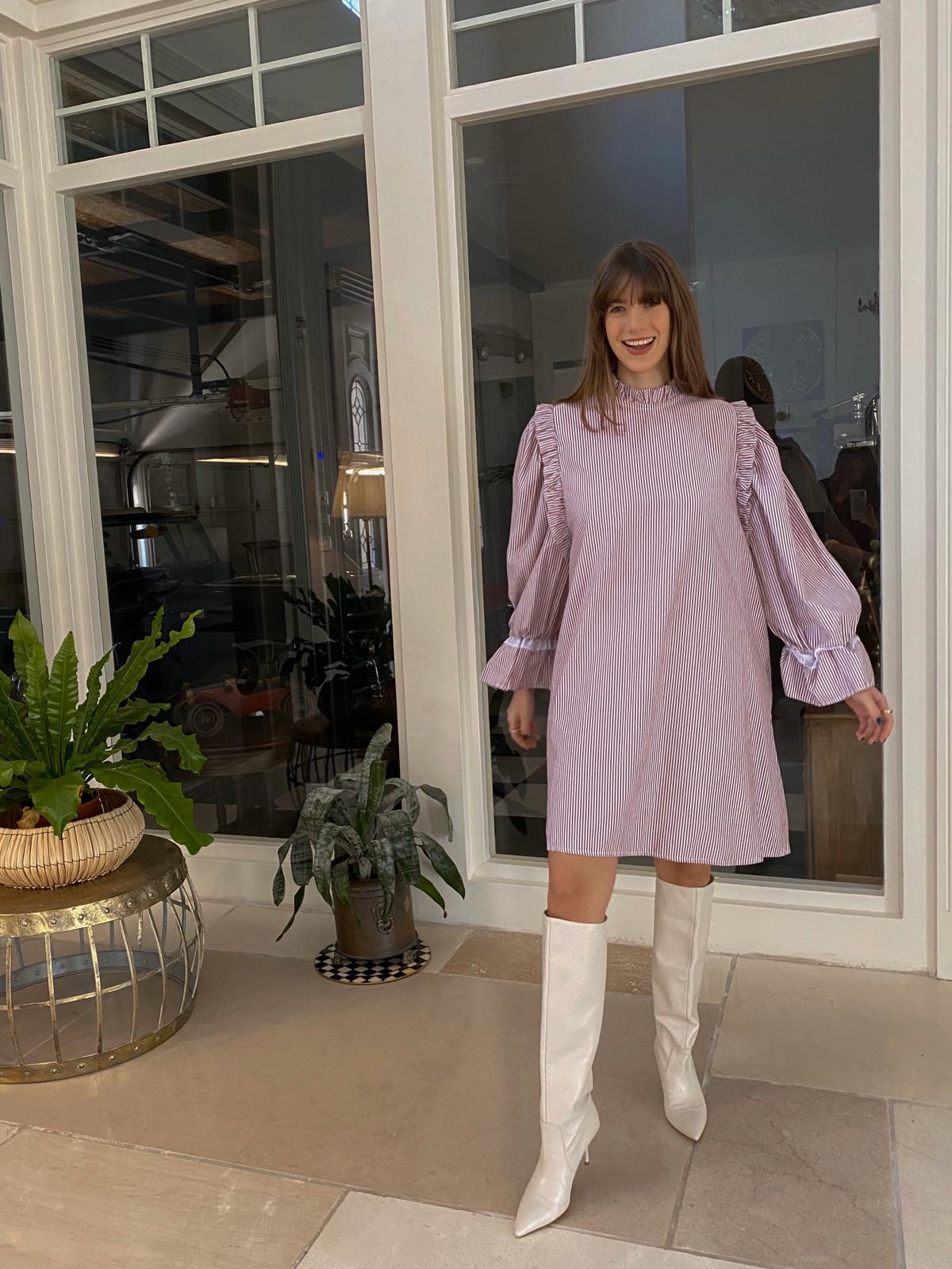 שמלת מישל משבצות ורוד