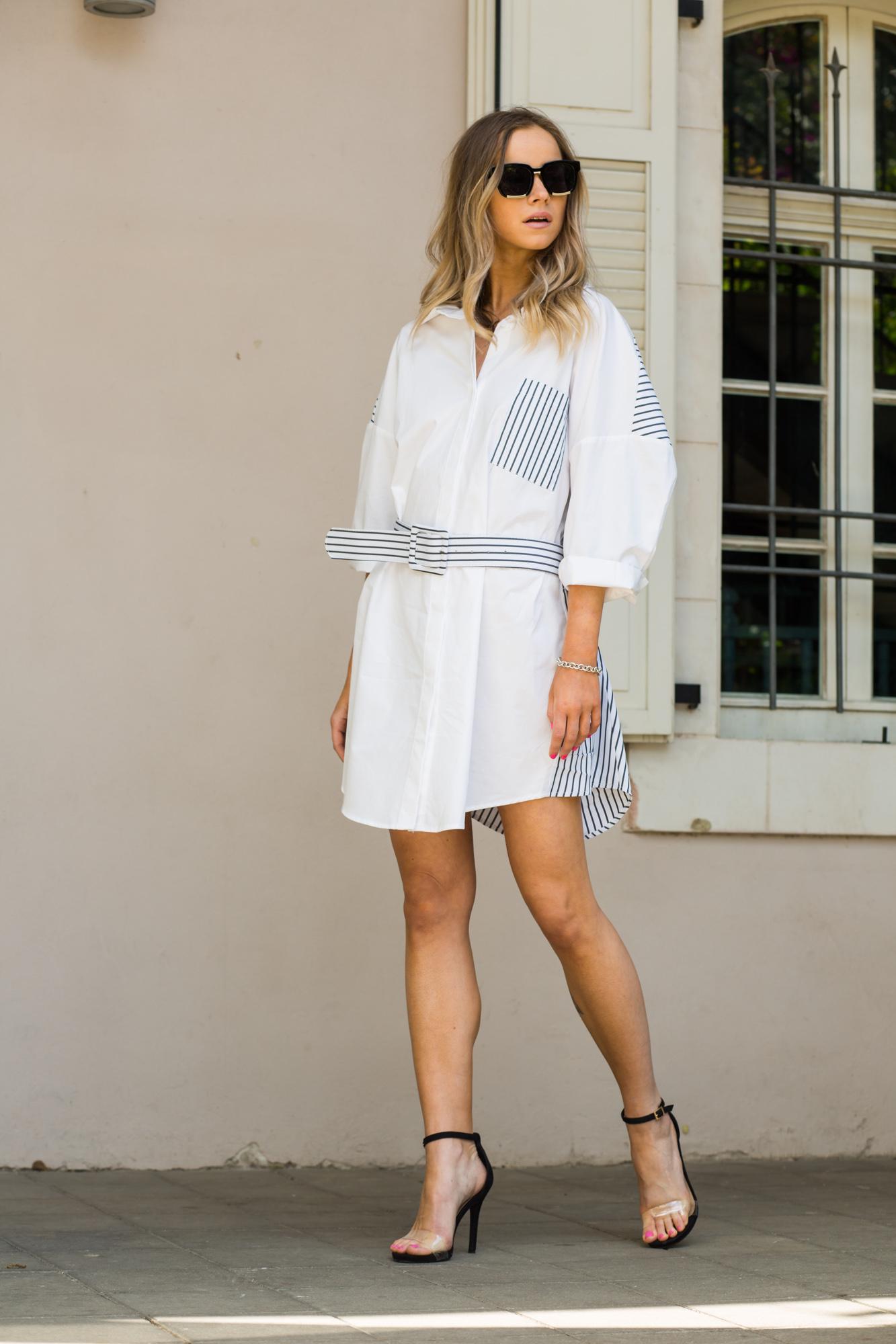 שמלה כפתורים שילוב חגורה