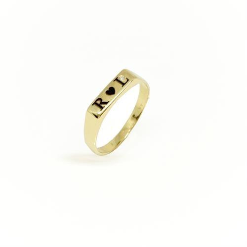 טבעת שם טבעת חריטה עם שם ויהלום טבעות חריטה