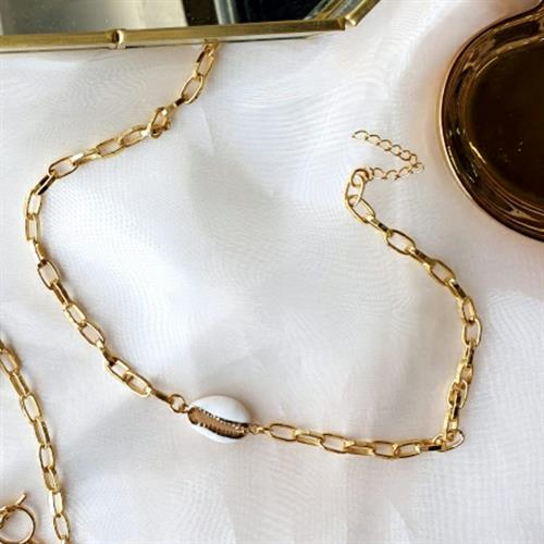 שרשרת צ'וקר גורמט וצדף- ציפוי זהב