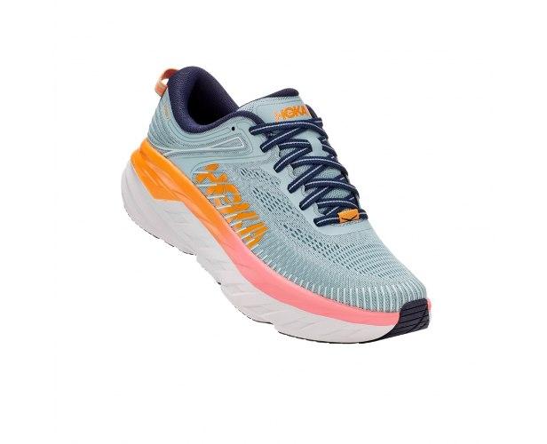 נעלי ריצה לנשים HOKA BONDI 7 WIDE בצבע תכלת/לבן/ורוד