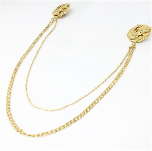 סיכת צווארון אייל משושה זהב