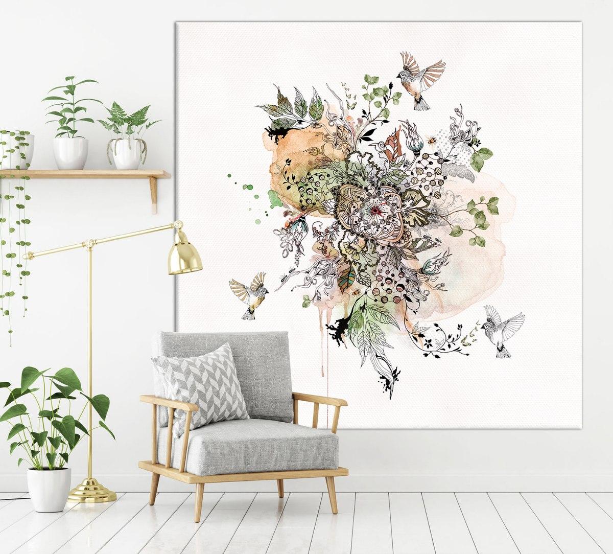 ציור גדול אבסטרקטי של פרחים